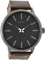 OOZOO Timepieces C9027 - Titaniumlook  Zwart Bruin - 48mm