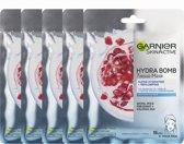 Garnier SkinActive Hydra Bomb Tissue Gezichtsmasker - 5 Stuks - Met granaatappel - Voordeelverpakking