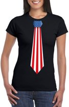 Zwart t-shirt met Amerika vlag stropdas dames L