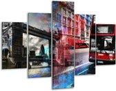Glasschilderij Modern | Rood, Grijs, Blauw | 100x70cm 5Luik | Foto print op Glas |  F004266