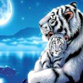 Witte tijger met welp - 5D Diamond Painting - 40x30cm - gedeeltelijk belegd