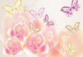 Fotobehang Butterflies Flowers Roses | M - 104cm x 70.5cm | 130g/m2 Vlies