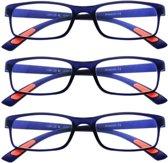 Amazotti Set van 3, Super-lichte Trendy Leesbril – blauw - sterkte +1.50