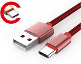 LDNIO LS60 Rood 1 Meter USB C Kabel Snellader OplaadKabel - geschikt voor o.a Samsung Galaxy A3 A5 2017 A8 A9 2018 S9 Plus