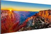 Grand Canyon National Park zonsondergang Aluminium 90x60 cm - Foto print op Aluminium (metaal wanddecoratie)