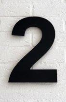 Huisnummer 2 Arial / 15 cm / mat zwart acrylaat 8 mm. Huisnummers met 5 jaar garantie.
