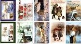 50 Luxe Kerst- en Nieuwjaarskaarten - 9,5x14cm  - 10 x 5 dubbele kaarten met enveloppen - serie Goede Kerstdagen en een Voorspoedig Nieuwjaar
