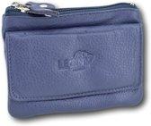 LeonDesign - 16-KW398-06 - dubbelvaks pasjesetui voor sleutel en kleingeld - donker Blauw - leer