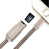 2-in-1 Micro SD-kaartlezer & 8-pins naar USB Data Sync oplaadkabel, voor iPhone, lengte: 30 cm