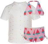 Snapper Rock UV werende Bikini Kinderen Watermeloen - Roze - Maat 116-122