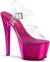 EU 36 = US 6 | SKY-308 | 7 Heel, 2 3/4 Chrome Plated PF Ankle Strap Sandal