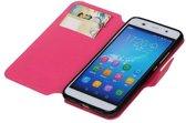 Huawei Honor 4A / Y6 Hoesje Cross Pattern TPU Bookstyle Roze
