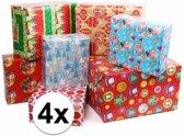 Kerst kadopapier 4 rollen - 200 x 70 - cadeaupapier / inpakpapier voor Kerstmis