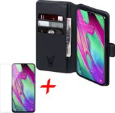 Samsung Galaxy A40 Hoesje + Screenprotector Case Friendly - Book Case Portemonnee - iCall - Zwart