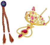 Prinses Anna felroze accessoire set - goudkleurige staf, kroon, vlechtjes