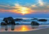 Fotobehang Beach Rocks Sea Sunset Sun | XXXL - 416cm x 254cm | 130g/m2 Vlies