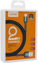 LDNIO LS64 Toughness USB C Type Oplaad Kabel 2.4A Fast Cable - geschikt voor o.a Motorola Moto G6 X4 Z Z2 Z3 Play Plus