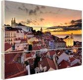 Lissabon in de avond Hout 120x80 cm - Foto print op Hout (Wanddecoratie)