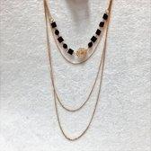 Fashionidea - Super mooie vierdelige goudkleurige ketting met zwarte sierstenen