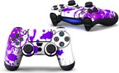 Verfspetters / Wit met Paars - PS4 Controller Skins PlayStation Stickers