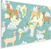 Alpaca's en bergen op een lichte wereldkaart Plexiglas 180x120 cm - Foto print op Glas (Plexiglas wanddecoratie) XXL / Groot formaat!