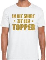 In dit shirt zit een Topper goud glitter tekst t-shirt wit voor heren - heren Toppers shirts 2XL