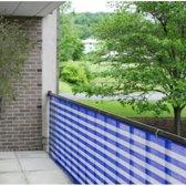 Balkondoek / balkonscherm - 5 meter x 90 cm - Blauw-Wit