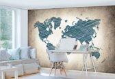 Fotobehang Vlies | Wereldkaart | Blauw | 368x254cm (bxh)