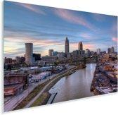 Stadsgezicht van het Amerikaanse Cleveland bij zonsondergang Plexiglas 90x60 cm - Foto print op Glas (Plexiglas wanddecoratie)