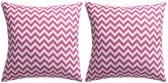 Buitenkussens met zigzag print 45x45 cm roze 2 st