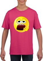 Smiley/ emoticon t-shirt moe roze kinderen M (134-140)