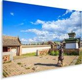 Blauwe lucht met wolken boven het Aziatische Erdene Zuuklooster Plexiglas 180x120 cm - Foto print op Glas (Plexiglas wanddecoratie) XXL / Groot formaat!