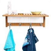 relaxdays Handdoekenrek - Plank keuken / badkamer - Kapstok bamboe hout - 50 x 18 x 16 cm.