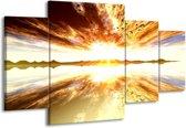 Canvas schilderij Zonsondergang | Geel, Wit, Grijs | 160x90cm 4Luik