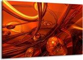 Canvas schilderij Abstract   Geel, Rood, Goud   140x90cm 1Luik