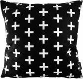 Zwart - Wit Kruisjes Kussenhoes | Katoen/Flanel | 45 x 45 cm