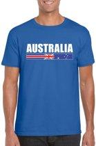 Blauw Australie supporter t-shirt voor heren - Australische vlag shirts L