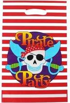 Uitdeelzakjes Piraat Rood/wit gestreept 10 stuks