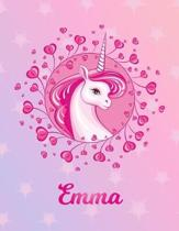 Emma: Emma Magical Unicorn Horse Large Blank Pre-K Primary Draw & Write Storybook Paper - Personalized Letter E Initial Cust
