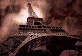 Fotobehang Paris Eiffel Tower Brown | M - 104cm x 70.5cm | 130g/m2 Vlies