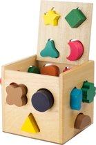 Houten vormenstoof kubus - Multi kleuren - Houten speelgoed vanaf 1 jaar