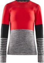 Craft FuseKnit Comfort Blocked Longsleeve  Sportshirt - Maat M  - Vrouwen - rood/grijs/zwart