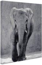 FotoCadeau.nl - Olifant zwart-wit gecentreerd Canvas 60x80 cm - Foto print op Canvas schilderij (Wanddecoratie)