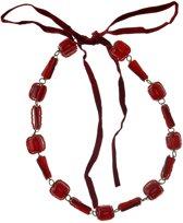 Behave® Dames kralen ketting rood met strik 75 cm