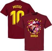 Barcelona Messi 10 Gaudi Foto T-Shirt - Bordeaux Rood - XXL