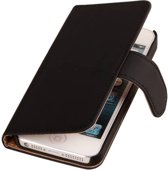Zwart Effen Apple iPhone 4 / 4S - Book Case Wallet Cover Hoesje