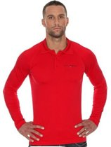 Brubeck Prestige Seamless Sport Poloshirt Golf / Tennis Lange Mouw-Rood-XXL