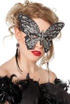 Masker vlinder medium zwart/zilver