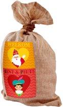 Medium jute kadozak Sinterklaas - 50x80 cm - strooizak / cadeauzak