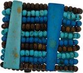 Brede kralenarmband blauw
